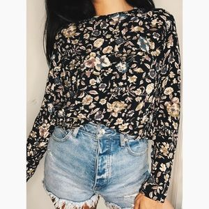 Floral Navy Blouse Top